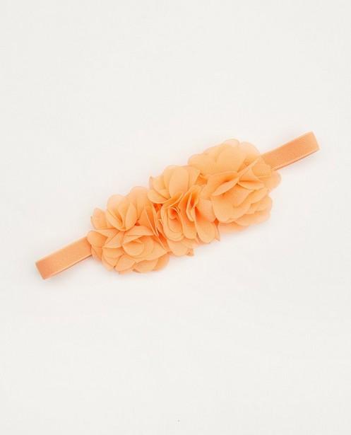 Oranje haarband met bloemen - tule - Cuddles and Smiles
