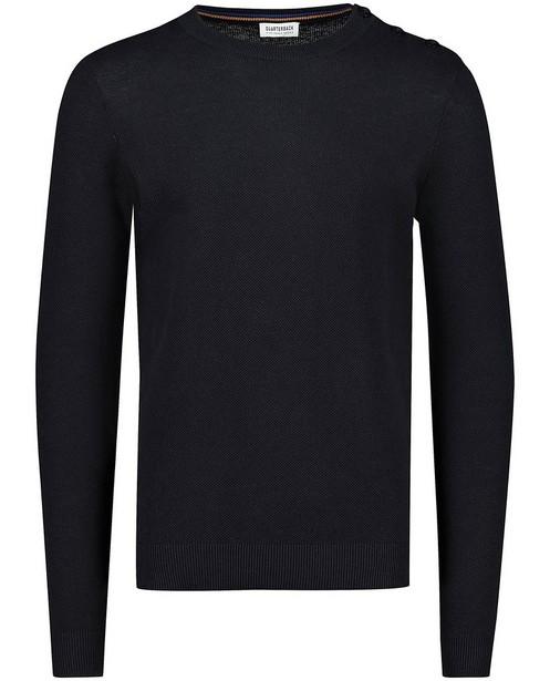 Donkerblauwe trui van biokatoen - met structuur - Quarterback
