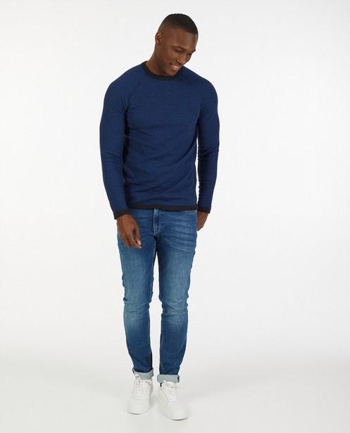 Pull bleu en coton bio - à rayures - Quarterback