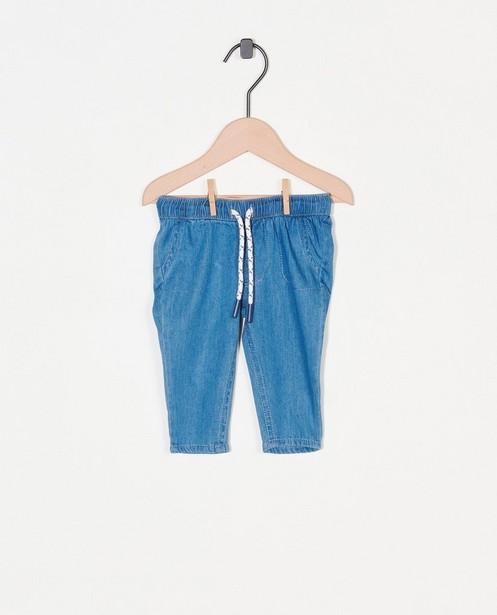 Blauw broekje met tunnelkoord - effen - Newborn