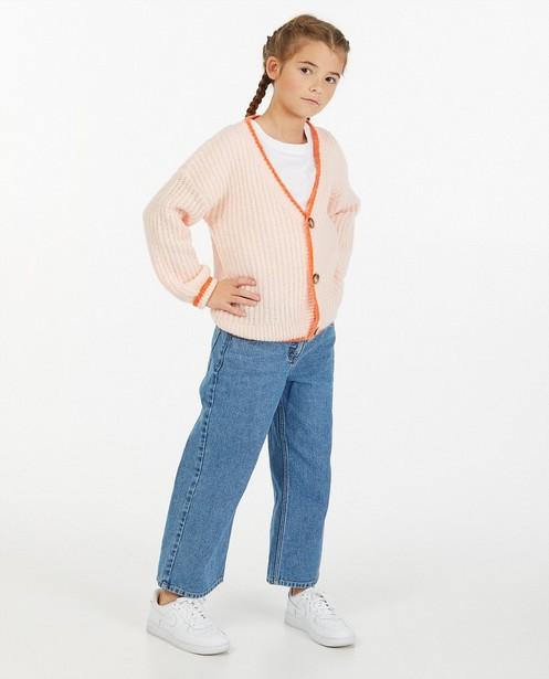 Cardigan tricoté rose - avec un bord contrastant - Fish & Chips