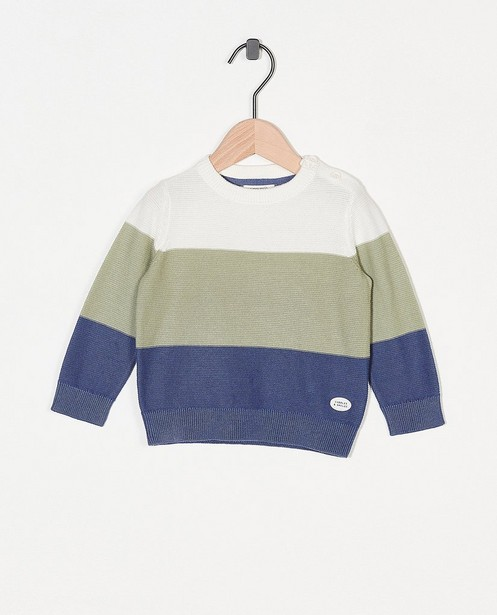 Gebreide trui met strepen - offwhite, groen en blauw - Cuddles and Smiles