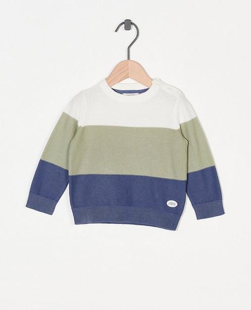 Pull tricoté à rayures - écrues, vertes et bleues - Cuddles and Smiles