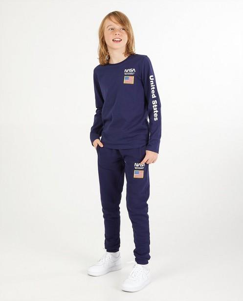 T-shirt bleu à manches longues, imprimé NASA - stretch - NASA