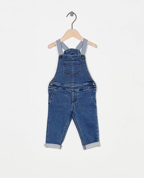 Blauwe salopette van sweat denim - stretch - Cuddles and Smiles