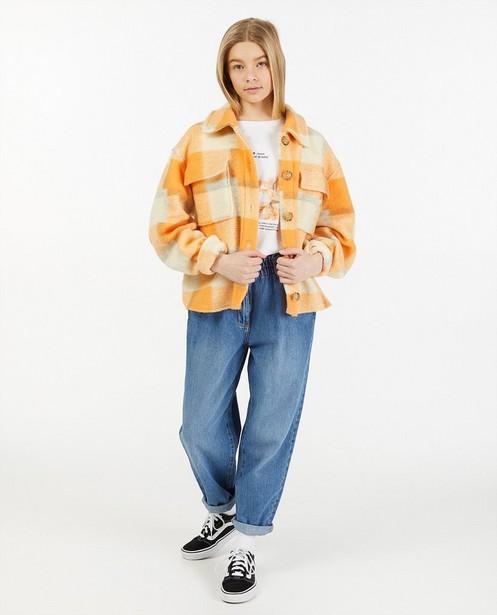 Oranje geruite shacket - allover - Groggy