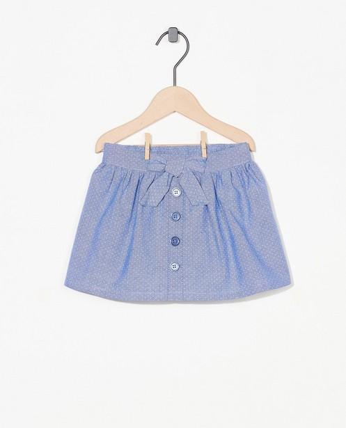 Blauw chambray rokje met stipjes - van katoen - Cuddles and Smiles