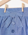 Rokken - Blauw chambray rokje met stipjes