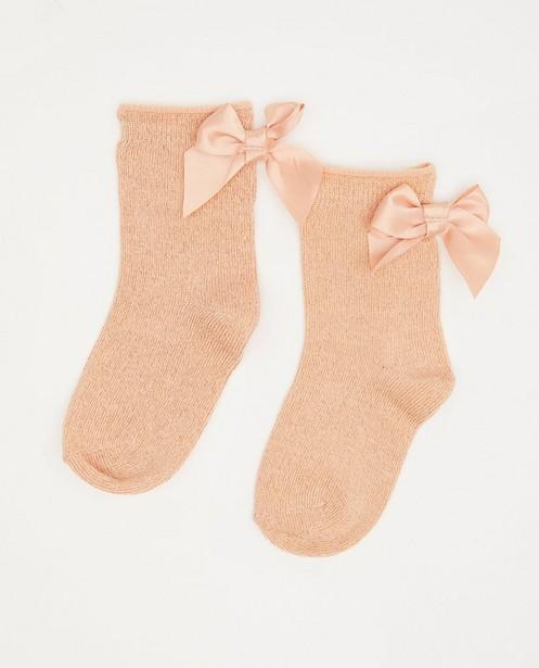 Chaussettes roses à paillettes Feest - et nœud en satin - Cuddles and Smiles
