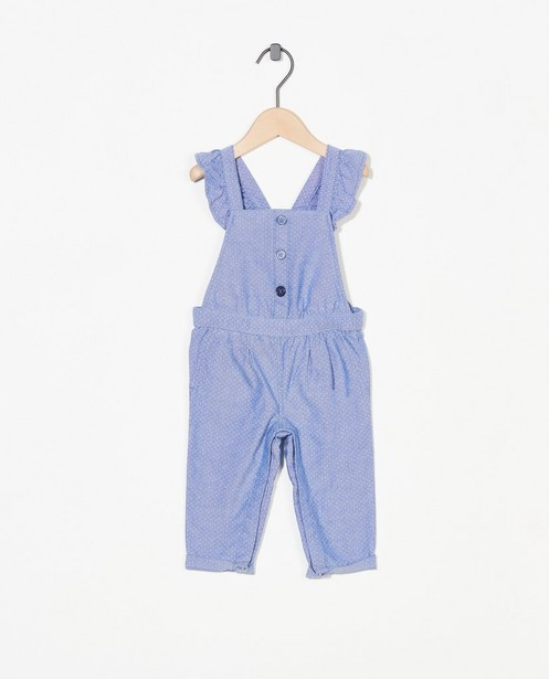 Blauw chambray jumpsuitje met stippen - en strik - Cuddles and Smiles