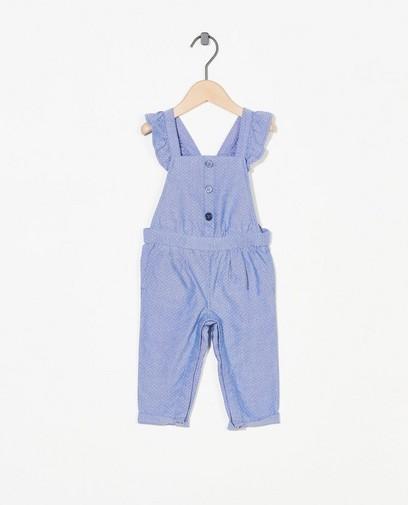 Blauw chambray jumpsuitje met stippen