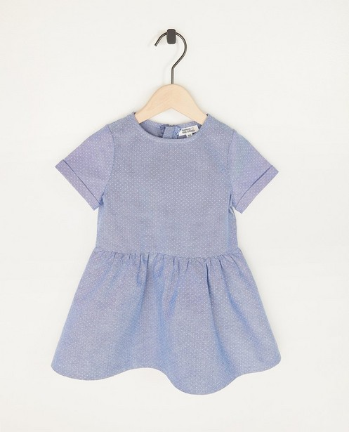 Blauwe chambray jurk met stippen - allover - Cuddles and Smiles