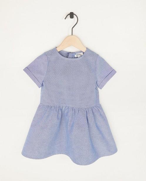 Robe bleue à pois en chambray - imprimé intégral - Cuddles and Smiles
