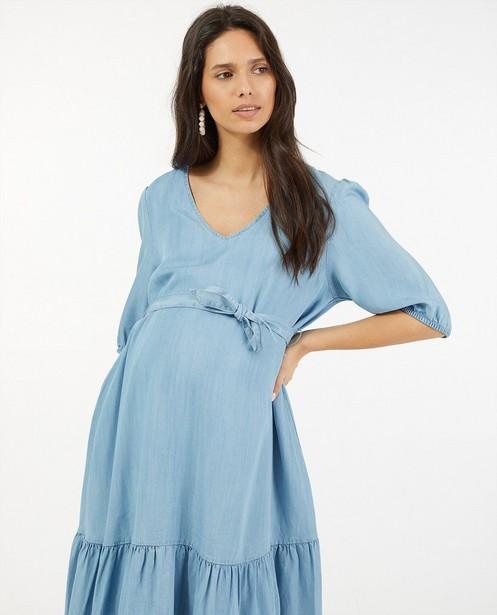 Blauwe jurk met knooplint JoliRonde - zwangerschap - Joli Ronde