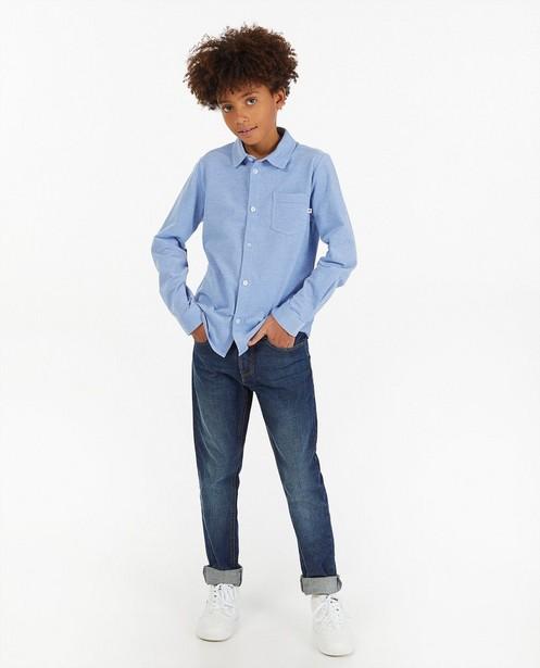 Blauw hemd van katoen piqué - gemêleerd - Fish & Chips