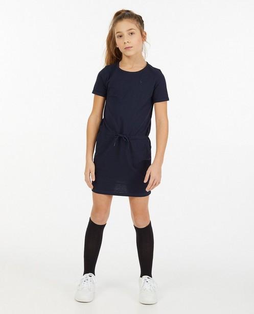 Blauwe jurk van jersey - stretch - Fish & Chips