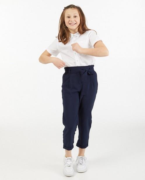 Blauwe broek met paperbag waist - met knooplint - Fish & Chips