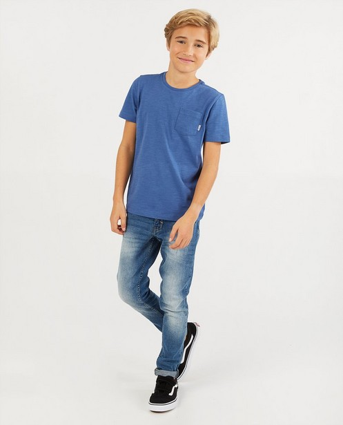 Blauw T-shirt met borstzak BESTies - van gevlamd katoen - Besties