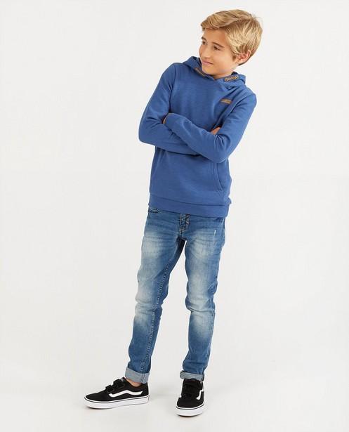 Blauwe hoodie BESTies - van gevlamd katoen - Besties
