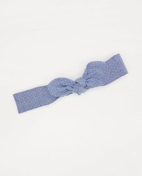 Blauwe haarband met strik - en stipjes - Cuddles and Smiles