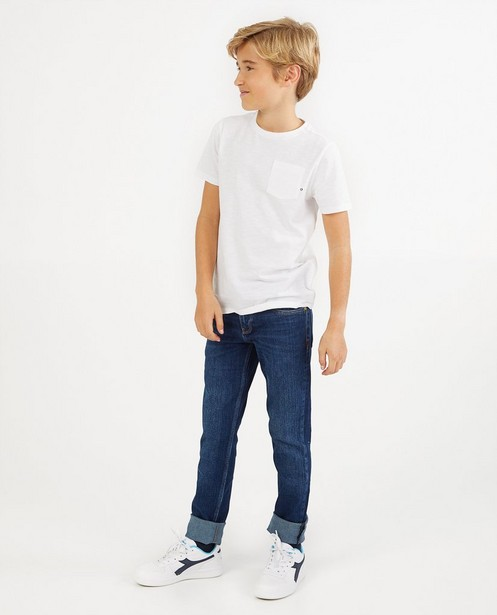 Wit T-shirt van biokatoen - met borstzak - Fish & Chips
