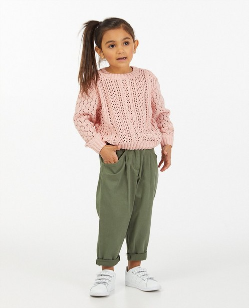Roze trui met ajourpatroon - allover - Milla Star