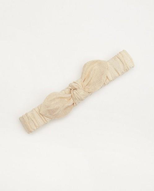 Bandeau beige avec nœud - fil métallique doré - Cuddles and Smiles