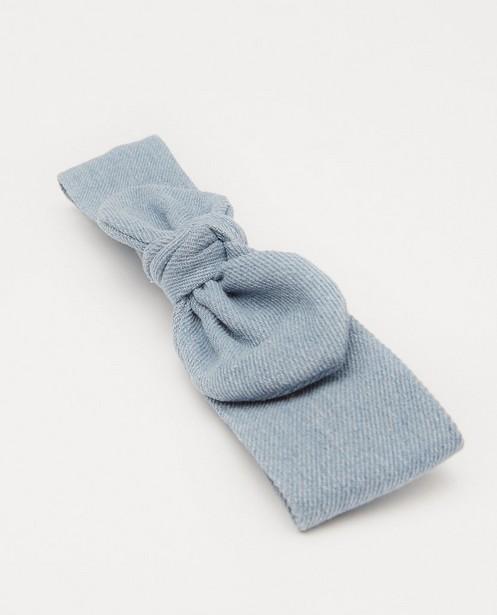 Breigoed - Blauwe haarband met strik