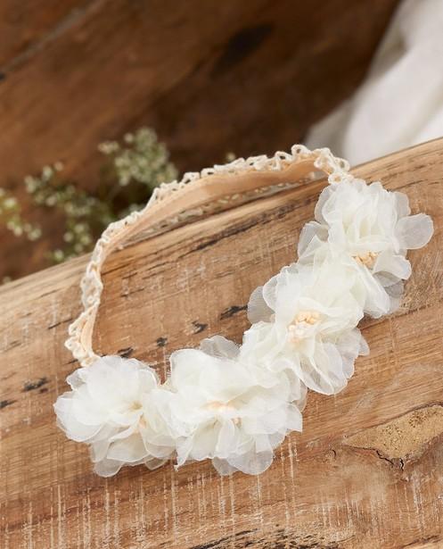 Witte haarband met bloemen Communie - tule - JBC