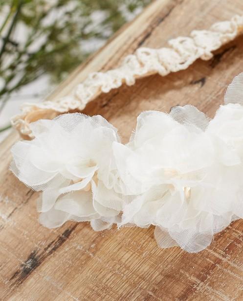 Breigoed - Witte haarband met bloemen Communie