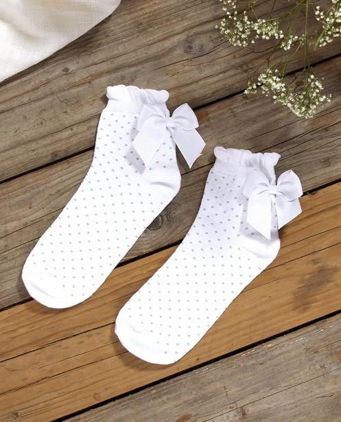 Chaussettes blanches avec un nœud Communion - à pois - JBC