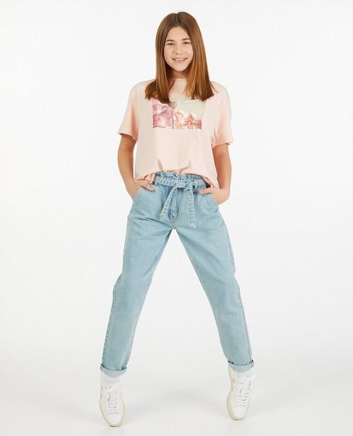 Zalmroze T-shirt met print - stretch - Groggy