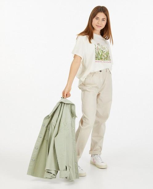 Offwhite T-shirt met print - stretch - Groggy