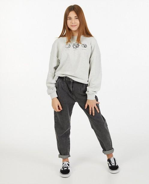Grijze sweater met print - gemêleerd - Groggy