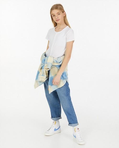 Wit rib T-shirt met knoopsluiting - stretch - Groggy