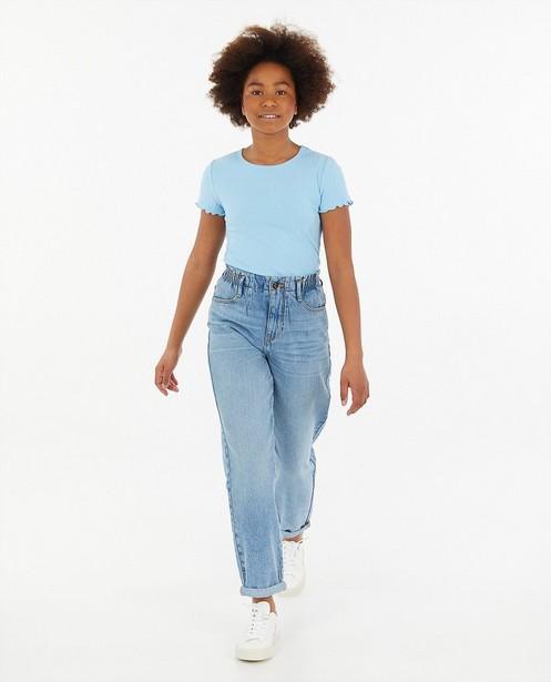 Blauw T-shirt met ribreliëf - allover - Groggy