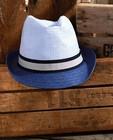 Bonneterie - Chapeau bleu avec un ruban Communion