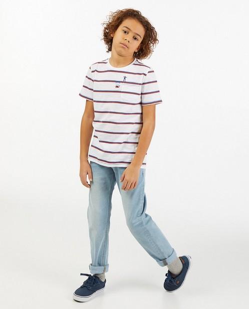 Wit T-shirt met strepen van biokatoen - blauw en bruin - Fish & Chips