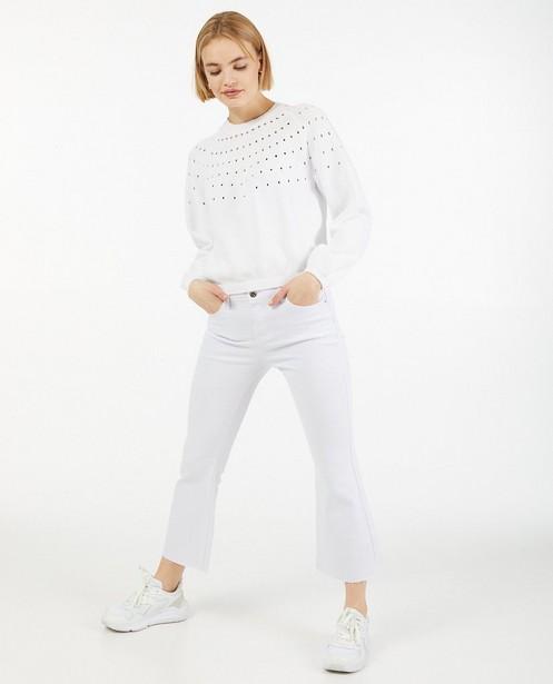 Witte trui met ajourpatroon Pieces - van fijne brei - Pieces