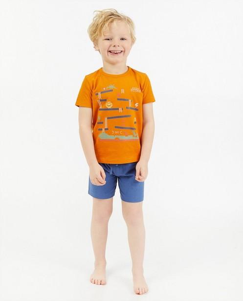Oranje-blauwe tweedelige pyjama  - met print - Kidz Nation