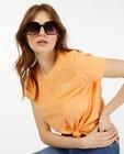 T-shirt orange en coton bio Sora - à inscription - Sora