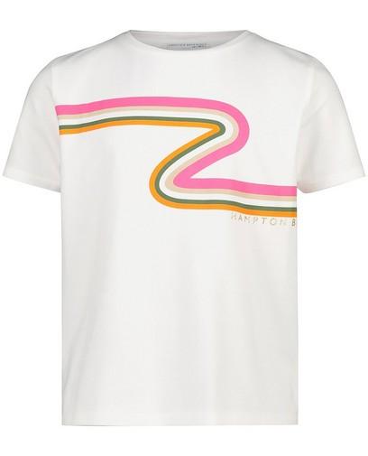 Wit T-shirt met strepen Hampton Bays