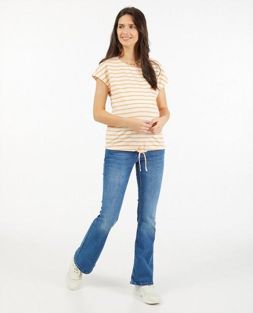 Wit T-shirt met strepen JoliRonde - van biokatoen - Joli Ronde