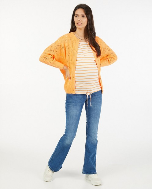 Oranje cardigan met ajour JoliRonde - zwangerschap - Joli Ronde