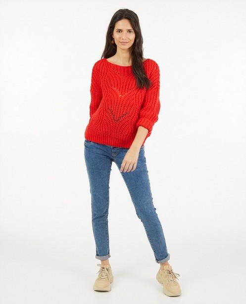 Rode trui met ajourpatroon JoliRonde - zwangerschap - Joli Ronde