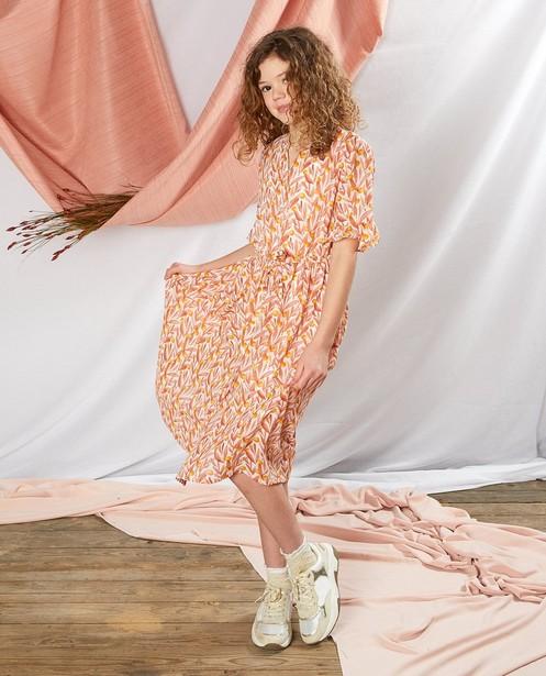 Robe à imprimé Communion - orange et blanche - Milla Star