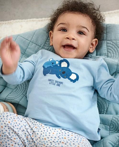 Blauwe pyjama met meegroeibroekje - en stippenprint - Cuddles and Smiles