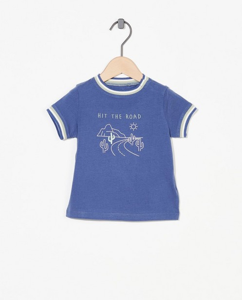 Blauw T-shirtje met print - stretch - Cuddles and Smiles