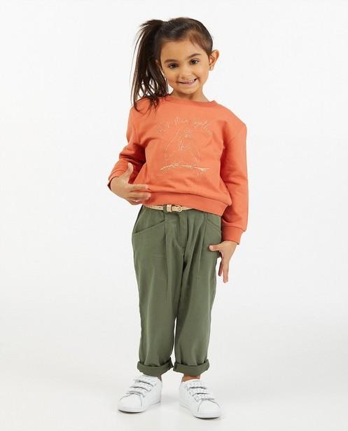Oranje sweater met print - met glitter - Milla Star