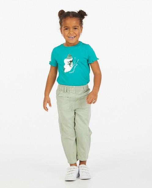Groen T-shirtje van biokatoen Maya - met paillettenprint - Maya